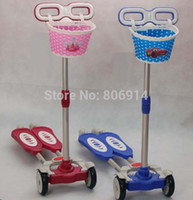 Wholesale Zip Wheels - Wholesale-Free Shipping 4-wheel height adjustable ZIP flick style 2-board self propelled kid   child   pupil foot kick scooter with basket
