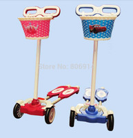 Wholesale Zip Wheels - Wholesale-Free Shipping 4-wheel ZIP flick style double-board self propelled kid   child   pupil kick scooter foot scooter with basket