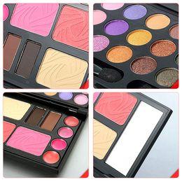 Wholesale Eyeshadow Blush Lip Gloss - Wholesale-Free shipping Eyebrow Cream Powder Cake Lip Gloss Cheek Blush Eyeshadow Make Up Kit Combo FULI