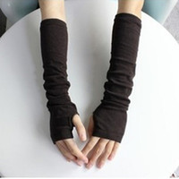 Wholesale Knit Arm Warmers - Wholesale-Unique Design Women Fashion Knitted Arm Fingerless Mitten Wrist Warm Winter Long Gloves Retail Wholesale 5BS4