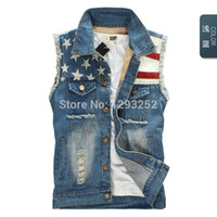 Wholesale Denim Vests For Men - Fall-Men's Jean Vest US Flag Denim Vest Motorcycle Jeans Jacket Sleeveless For Men