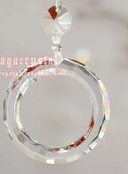 Wholesale-15 pcs/lot 50mm Clear Round O shape chandelier crystal glass trimming parts glass hanging trimming suncatchers