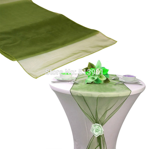 "best selling Wholesale-12""x108""   30*275cm 50pcs High Quality Olive green Organza Table Runner for Wedding decoration Banquet Venue Decoration"