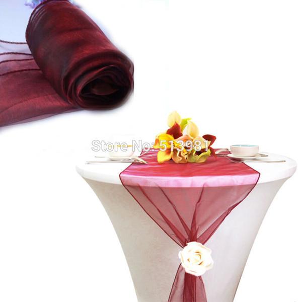 "top popular Wholesale-12""x108""   30*275cm 50pcs High Quality burgundy Organza Table Runner for Wedding decoration Banquet Venue Decoration 2021"