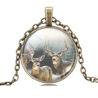 cam cabochon yılbaşı toptan satış-Toptan-gümüş antik bronz takoz kolye yılbaşı hediyesi sanat resim geyik cam cabochon kolye kolye kolye