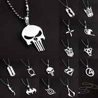 Wholesale Knights Pendant - Wholesale-MARVEL SUPER HERO The PUNISHER DARK KNIGHT Stainless Steel Leather Chain Pendant Necklace,66104-66118