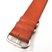 Wholesale Nato Leather Strap - Wholesale-zulu strap - 1PCS High quality 24MM Nato strap genuine leather Watch band NATO straps watch strap brown color-110105