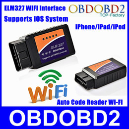 Wholesale Obd2 Wi Fi - Wholesale-Newly ELM327 WIFI WIFI Connection OBD2 Auto Code Reader WI-FI Connection ELM 327 Supports iOS Phone OBD2 Diagnostic