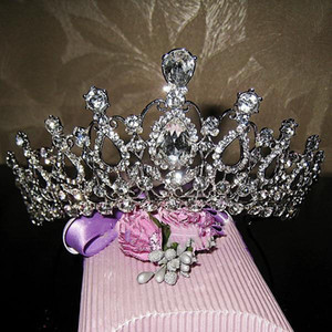 украшения для волос оптовых-Oversize Crystal bride hair accessory wedding tiaras and crown for sale rhinestone pageant crowns head jewelry hair ornament