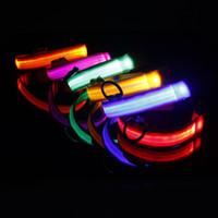 neue sicherheitsprodukte großhandel-Wholesale-New Sicherheit Hundehalsband Pet Products Nylon LED Kragen Light-up Flashing Glow LED Kragen S M L XL