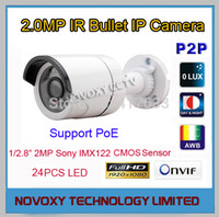 Frete grátis 2MP 1920x1080P PoE IP HD IR Camera Outdoor intempéries Infrared Night Vision IR bala Box Camera