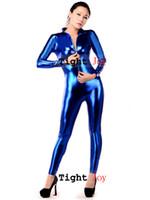 traje de látex de cuerpo completo al por mayor-Venta al por mayor-Oro / Rojo / Negro / Azul / Verde Brillante Metallic Front Zipper Full Body Sexy Zentai Costume para mujeres envío gratis