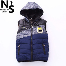 Wholesale Sleeveless Jacket For Boys - Wholesale-TOP NS 2015 children winter vest with hooded boys winter jacket cotton sleeveless jacket for boy letter children winter clothing