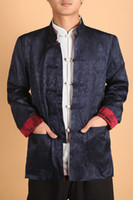 Wholesale Chinese Silk Satin Jackets - Wholesale-Free shipping Red Blue Vintage Chinese Men's Silk Satin 2-Face Jacket Reversible Coat with Pocket Shirt Size M---XXXL 0937-5