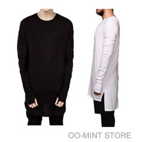 Wholesale men new swag style clothes online – oversize New Thumb Hole Cuffs Long Sleeve Tyga Swag Style Man High Low Side Split Hip Hop Top Tee T Shirt Crew T shirt Men Clothes