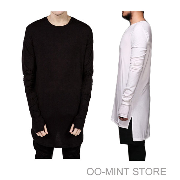 Wholesale-New Thumb Hole Cuffs Long Sleeve Tyga Swag Style Man High Low Side Split Hip Hop Top Tee T Shirt Crew T-shirt Men Clothes