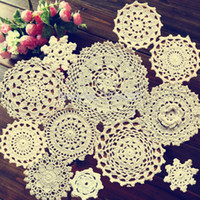 Wholesale Cotton Hand Made Crochet Doilies Cup Mat Pad Coaster Vintage Crochet Motifs cm White Beige HD044