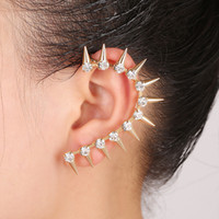 Wholesale Goth Cuff Earrings - Wholesale-Top Quality Luxury 2015 Rhinestone Crystal Ear Cuff Earrings Goth Punk Vintage Clip On Earrings For Women Earcuff
