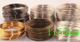 Wholesale Memory Wire Bangle - Wholesale-OMH wholesale free ship 200loop 1x55mm Silver Gold Plated Memory Steel Wire For Cuff Bangle Bracelet