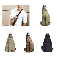 segeltuch-sling-taschen für männer großhandel-Großhandels-Männer Segeltuch Retro Handtasche Messenger Schulter Sling CrossBody Brusttaschen