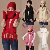 Wholesale Winter Scarf Hat Knitted Scarf And Hat Set For Women Thicken Knitted Hat Fashion Girls Hat Scarf Gloves