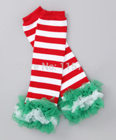 Wholesale Red White Candy Canes - Wholesale-Red and White Candy Cane Striped Tulle Christmas Leg Warmers with 3 Layers Ruffles