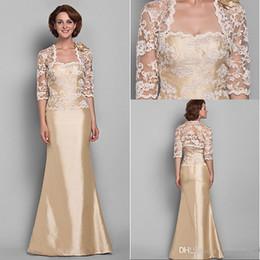 Gold color mother of bride dress
