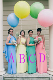 Wholesale One Shoulder Greek Wedding Dresses - Colorful Greek Bridesmaid Dresses Cheap 2015 One Shoulder Watteau Plus Size Chiffon Women Wedding Party Evening Formal Occasion Dress Custom