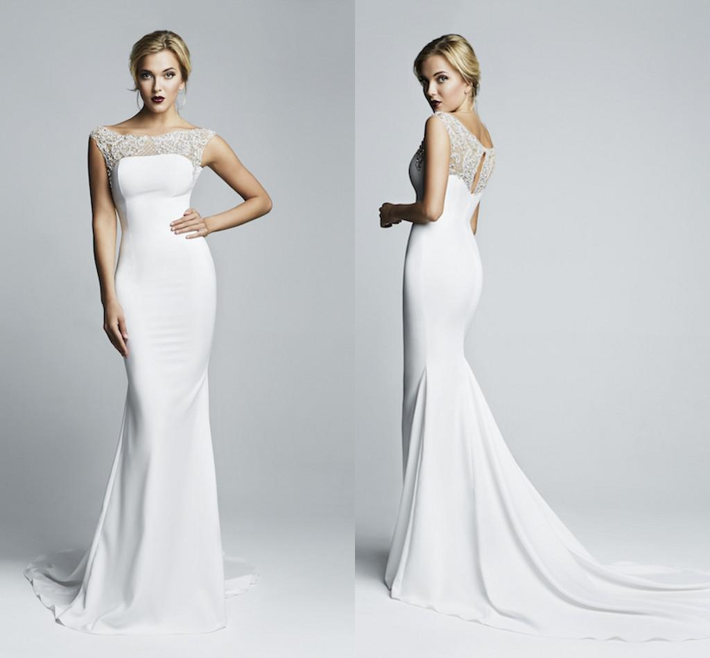 2015 Mermaid Spandex Tight Maxi Wedding Dresses with Cap Sleeve ...
