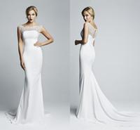 Wholesale Tight Satin Wedding Dresses - 2015 Mermaid Spandex Tight Maxi Wedding Dresses with Cap Sleeve Sheer Bateau Neckline Beaded Hollow Back White Beach Vintage Bridal Gowns