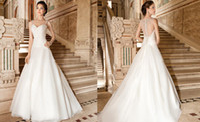 Wholesale Dress Demetrios Line - 2015 Demetrios Wedding Dresses 3217 A Line Beading Crystals Pleats Ruched Organza Appliques Sweep Train Buttons Luxury Bridal Dress Gowns