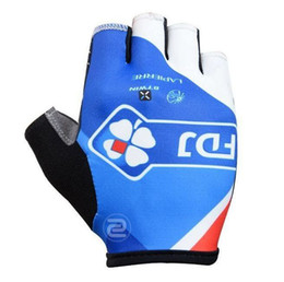 Wholesale Cycling Gloves Tour - Tour de france Team FDJ 2015 new high quality anti-shock half-finger pro cycling gloves men's MTB road racing anti-slip bike gloves