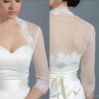 Wholesale Elegant Wedding Bolero - Elegant Short Lace Wedding Wraps Bolero Wedding Jackets Bridal Retro Tulle Lace Beach 3 4 Long Sleeve For Wedding Dresses Custom Made