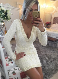 Wholesale Sheath Long Sleeve Homecoming Dresses - 2015 Sexy Short Lace Cocktail Dress V-Neck Long Sleeves Backless With Pearls Mini Wedding Party Gowns Sheath Homecoming Dress