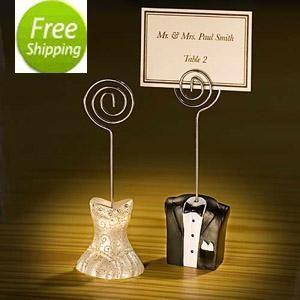 FREIES VERSCHIFFEN + / Braut-und Bräutigam-Platz-Kartenhalter-Hochzeits-Bevorzugungen, Hochzeits-Geschenke, glückliches Paar-Platz-Kartenhalter-Bevorzugungen, Klipp-Halter