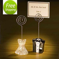 FREE SHIPPING+ 12pcs lot Bride and Groom Place Card Holder We...