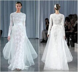 Wholesale Monique Lhuillier Lace Cap Sleeve - 2015 Fashion Sheer Long Sleeves Sheath Wedding Dresses Monique Lhuillier Jewel Neck Ruched With Sash Tulle Floor Length Lace Bridal Gowns