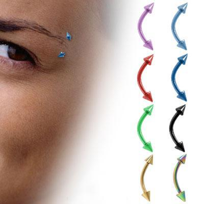2019 Mix Colors 16g Titanium Anodized Eyebrow Rings Curved Barbell With Spikes Wholesale Women S Men S Piercing Jewelry Steel From Yogo 13 5