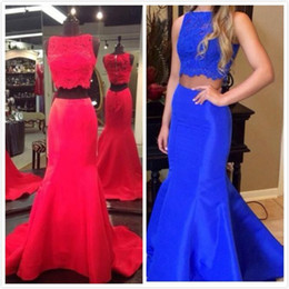 Wholesale Real Saab Dress - 2015 Two Piece Prom Dresses Elie Saab with Crew Neck Mermaid Applique Royal Blue crop top Real Image Evening Graduation Party Gowns