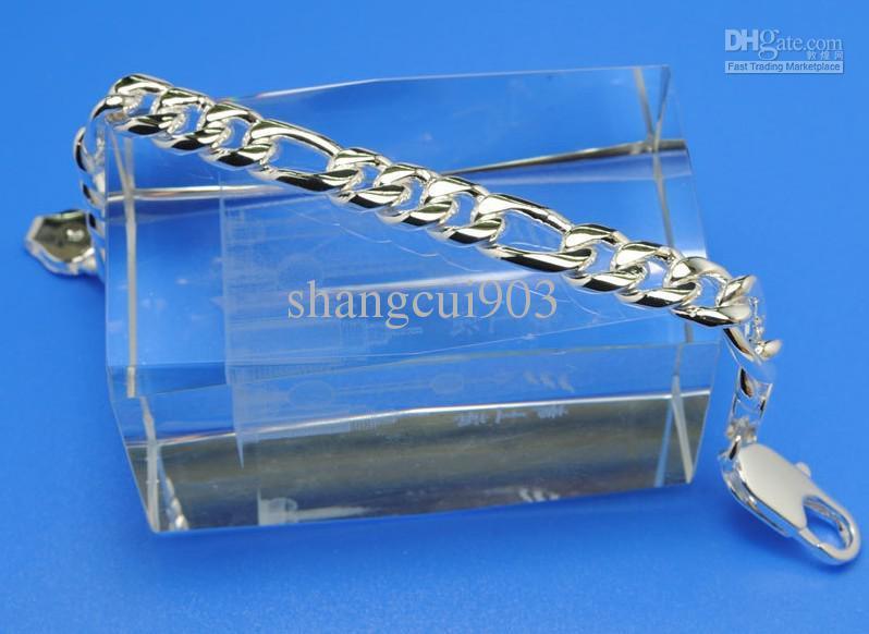 Горячо!925 серебро 8 мм Фигаро цепи мужской браслет питания 8 дюймов/20 см 10 шт./лот