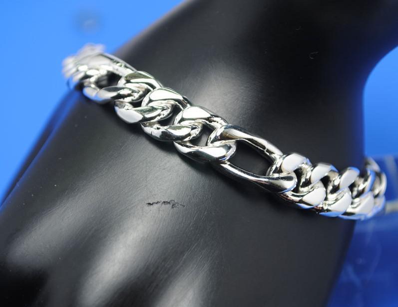 HOT! 925 argent 8MM Figaro chaîne hommes bracelet d'alimentation 8 pouces / 20cm /