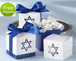 Wholesale Baby Shower Stars - FREE SHIPPING 50PCS Star of David Favor Boxes Wedding Favor Baby Shower Holder Party Reception Table Decor Sweet Package with RIBBONS