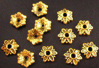 Wholesale Antiqued Silver 8mm - 600pcs Alloy Metal Antiqued gold plt flower bead caps 8mm A2G