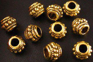 210pcs bocal orné de perles intercalaires en perles de verre plaqué or A9G