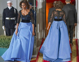 Wholesale Michelle Obama Fashion - Michelle Obama Long Sleeve Lace Celebrity Dresses Scallop-Edged A-Line Beaded Applique Black Bodice Sheer Illusion Back Full-Length Gown