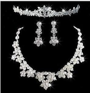 Bridal Tiaras crown Hair Necklace Earrings Accessories Wedding Jewelry Sets cheap price fashion style bride hair d bridalamid HT030