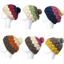 Chinese  Women's Cap Beanie Knitted Hats Crochet Winter Hats For Women Female Cute Casual Rabbit Fur Pompom Beanies Ear Fur Pompom Sport manufacturers
