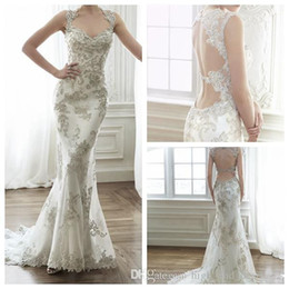 Wholesale Dress Jade Color - New 2015 Jade Mermaid Wedding Dresses Crystal Neckline Cap Sleeves Double Keyhole Back Exquisite Beaded Sweep Train Bridal Gowns