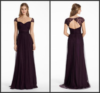 Wholesale Ml Lace Dress White - Bridesmaids Dresses 2015 Plum English Net A Line Long Sweetheart Neckline Formal Party Dress Lace Cap Sleeve ML JH5555 Keyhole Zipper Back