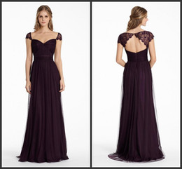 Barato Neckheart Neckline Keyhole Back-Bridesmaids Dresses 2015 Plum English Net A Line Long Sweetheart Neckline Vestido de festa formal Lace Cap Sleeve ML JH5555 Keyhole Zipper Voltar